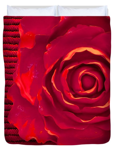 Duvet Cover featuring the photograph Red Red Rose by Art Block Collections