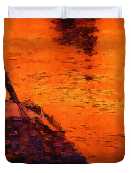 Red Rider Duvet Cover by Ayse Deniz