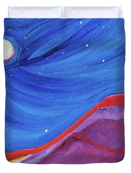 Duvet Cover featuring the painting Red Ridge By Jrr by First Star Art