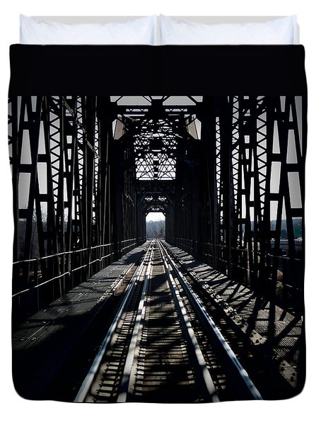 Duvet Cover featuring the photograph Red River Rail Road Crossing by Diana Mary Sharpton