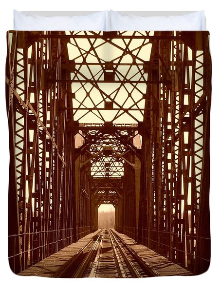 Duvet Cover featuring the photograph Red River Train Bridge #1 by Robert ONeil