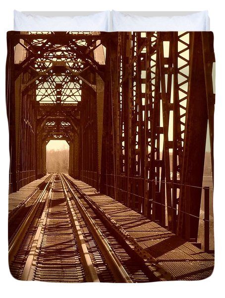 Duvet Cover featuring the photograph Red River Train Bridge #2 by Robert ONeil
