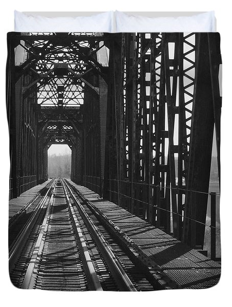 Duvet Cover featuring the photograph Red River Train Bridge #3 by Robert ONeil