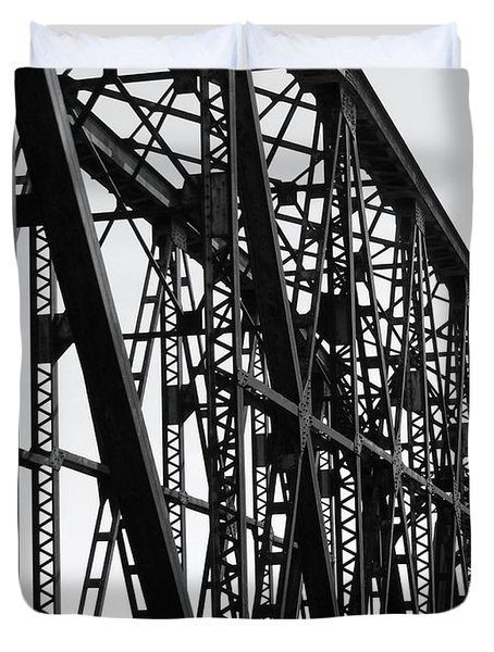 Duvet Cover featuring the photograph Red River Train Bridge #4 by Robert ONeil