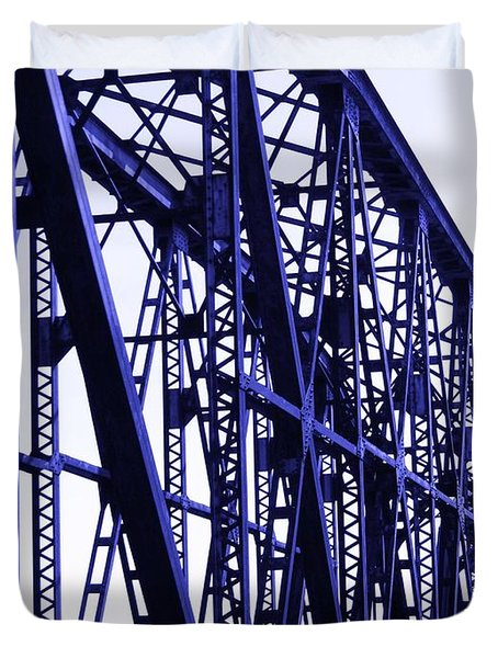 Duvet Cover featuring the photograph Red River Train Bridge #5 by Robert ONeil