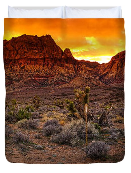 Red Rock Canyon Las Vegas Nevada Fenced Wonder Duvet Cover by Silvio Ligutti