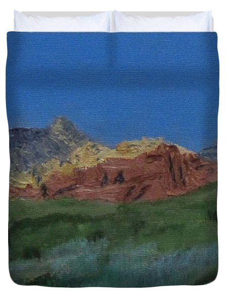 Duvet Cover featuring the painting Red Rock Canyon Panorama by Linda Feinberg
