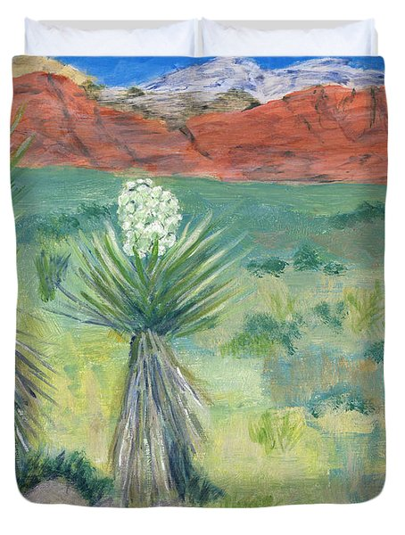 Duvet Cover featuring the painting Red Rock Canyon With Yucca by Linda Feinberg