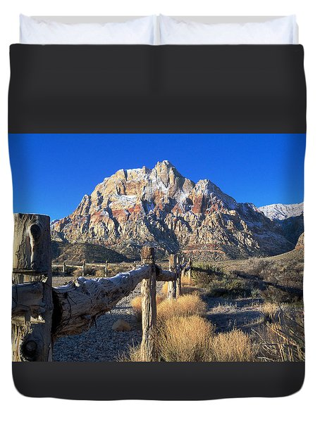 Red Rock Snow Duvet Cover