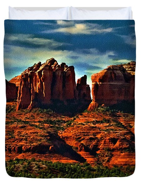 Red Rock State Park Arizona Sunrise Duvet Cover by Bob and Nadine Johnston