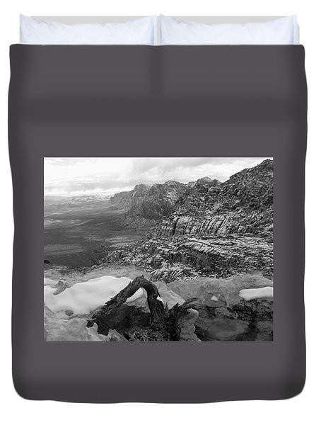 Duvet Cover featuring the photograph Red Rock Winter by Alan Socolik