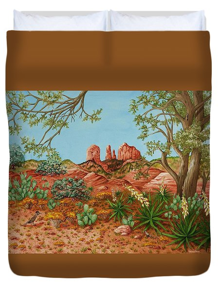 Duvet Cover featuring the painting Landscapes Desert Red Rocks Of Sedona Arizona by Katherine Young-Beck