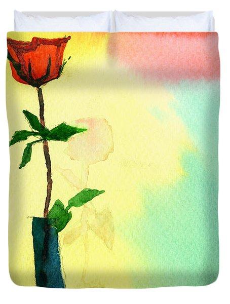 Red Rose 1 Duvet Cover by Anil Nene