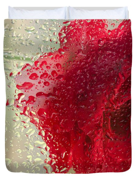 Red Rose In The Rain Duvet Cover by Don Schwartz