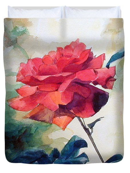 Watercolor Of A Single Red Rose On A Branch Duvet Cover