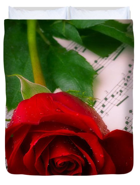 Red Rose On Sheet Music Duvet Cover