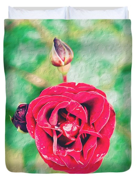Red Rose Duvet Cover by Yew Kwang