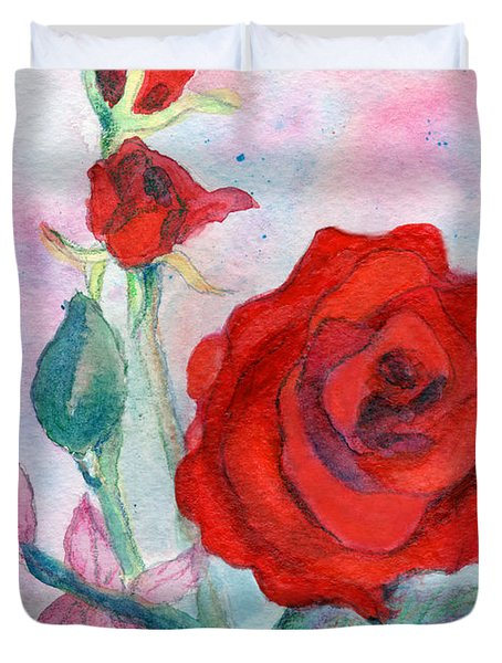 Red Roses Duvet Cover by C Sitton