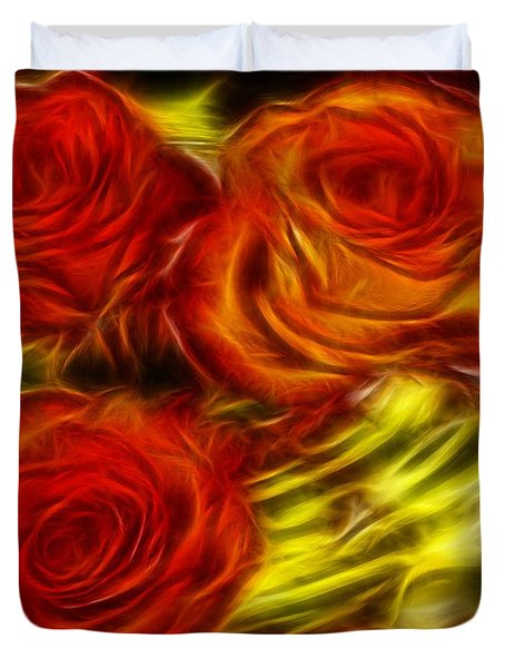 Duvet Cover featuring the painting Red Roses In Water - Fractal  by Lilia D