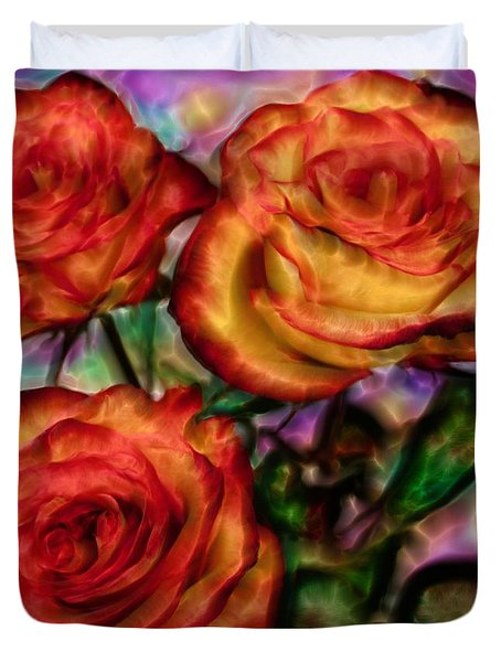 Duvet Cover featuring the digital art Red Roses In Water - Silk Edition by Lilia D