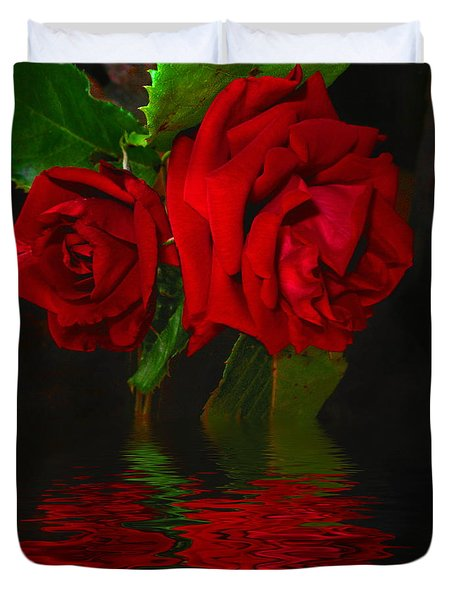 Red Roses Reflected Duvet Cover by Joyce Dickens