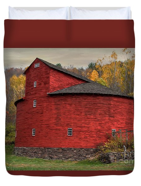 Red Round Barn Duvet Cover
