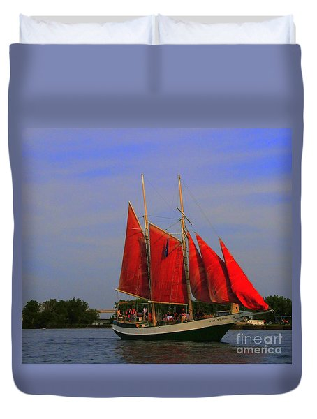 Red Sails Duvet Cover by Kathleen Struckle