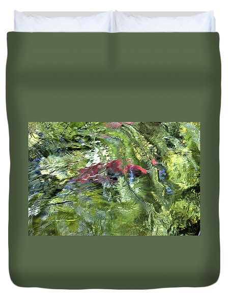 Duvet Cover featuring the photograph Red Salmon In Steep Creek by Cathy Mahnke