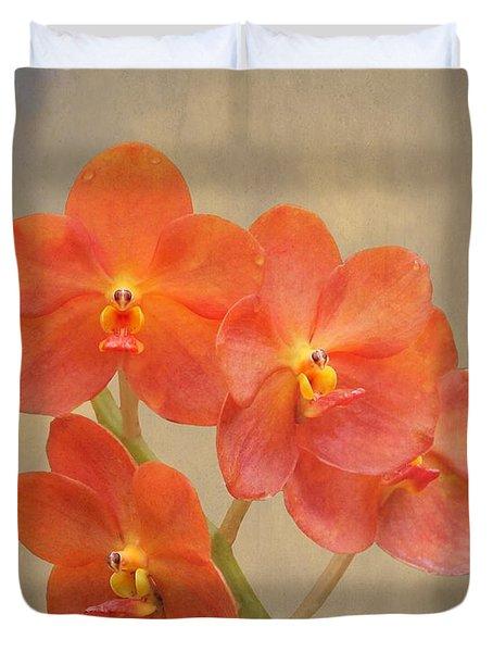 Red Scarlet Orchid On Grunge Duvet Cover