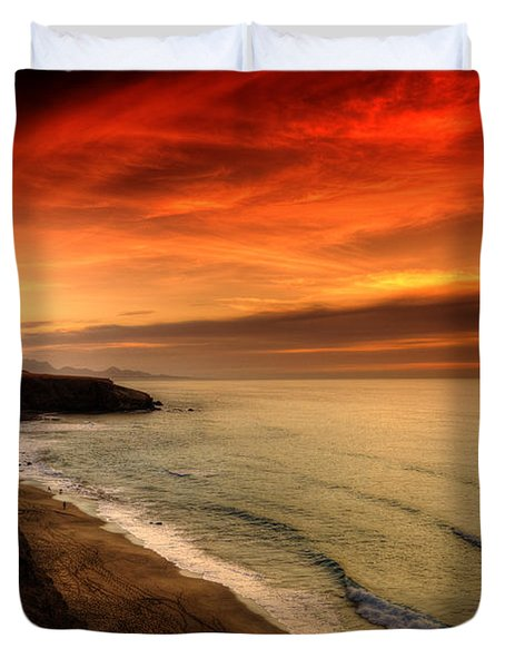 Red Serenity Sunset Duvet Cover by Julis Simo
