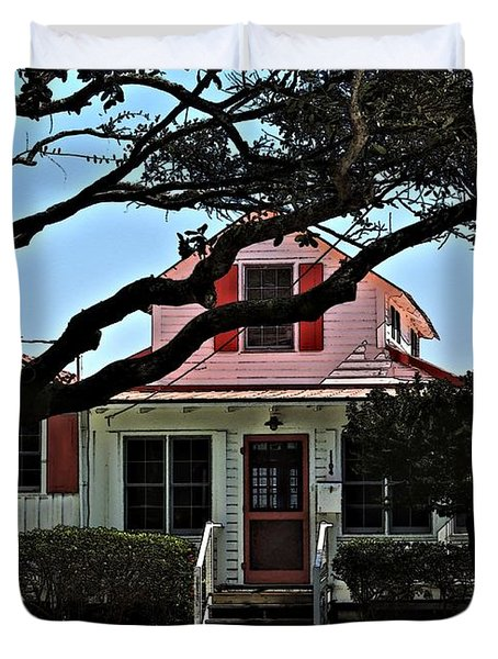 Duvet Cover featuring the photograph Red Shutters Cottage by Laura Ragland