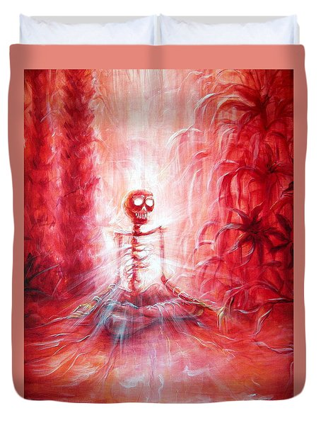 Red Skeleton Meditation Duvet Cover