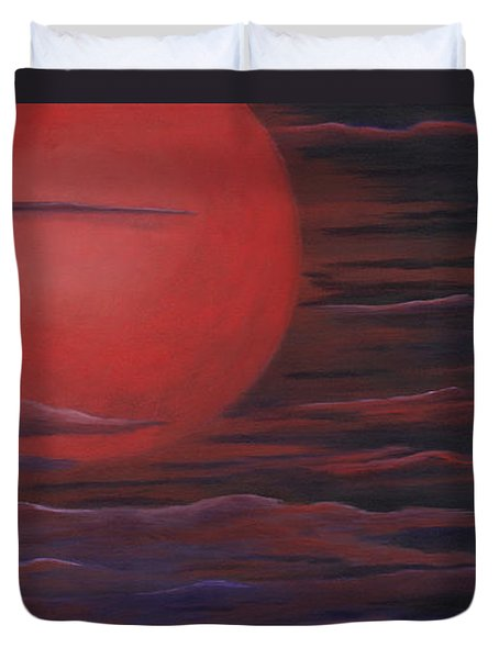Duvet Cover featuring the painting Red Sky A Night by Michelle Joseph-Long