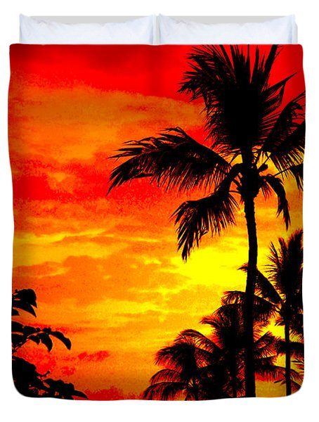 Red Sky At Night Duvet Cover by David Lawson