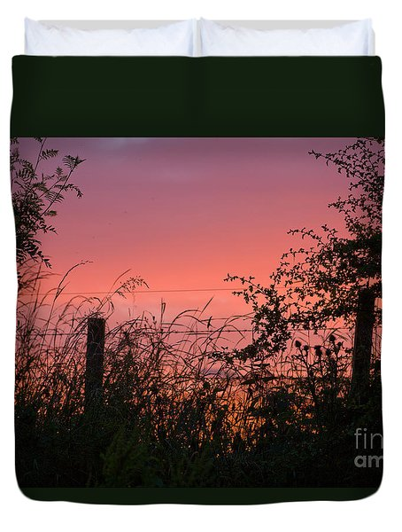 Duvet Cover featuring the photograph Red Sky At Night by Liz  Alderdice