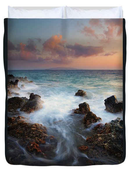Red Sky Over Kahoolawe . .  Duvet Cover by Mike  Dawson