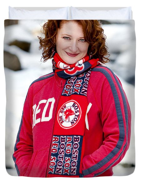 Red Sox Girl Duvet Cover by Greg Fortier