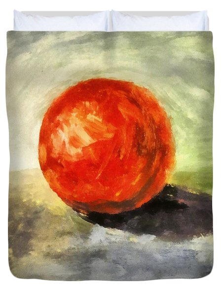 Red Sphere With Grey Duvet Cover