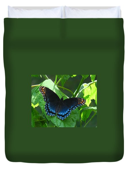 Red-spotted Admiral Butterfly Duvet Cover by William Tanneberger