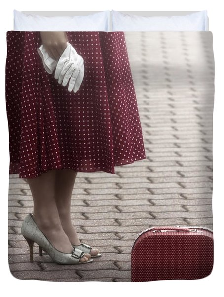 Red Suitcase Duvet Cover by Joana Kruse