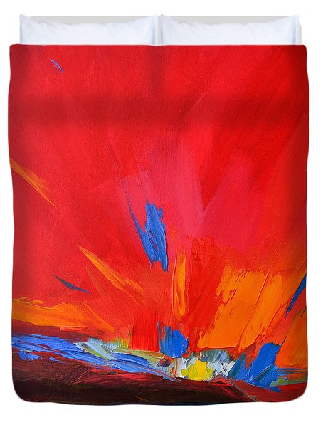 Red Sunset, Modern Abstract Art Duvet Cover