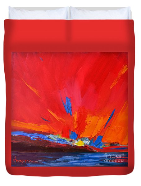 Red Sunset Modern Abstract Art Duvet Cover