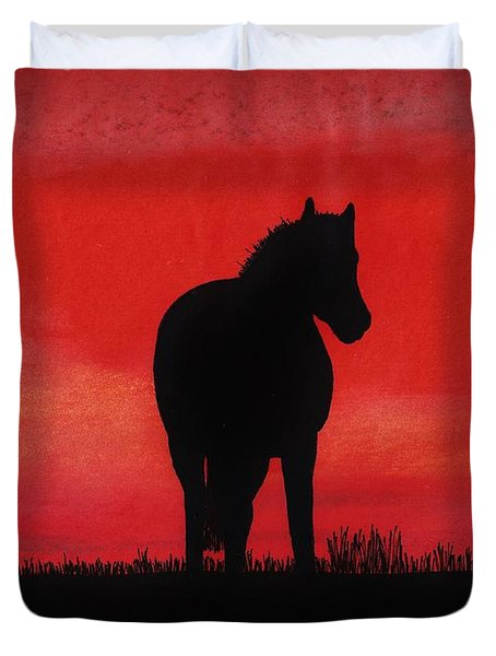 Red Sunset Horse Duvet Cover by D Hackett