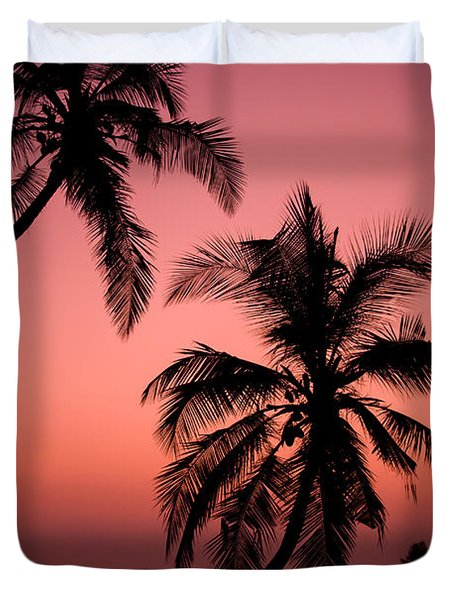 Red Sunset In The Tropics Duvet Cover