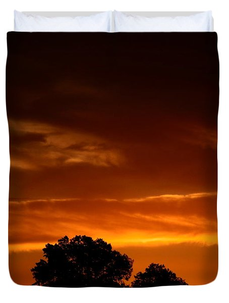Red Sunset Duvet Cover by Mark Blauhoefer
