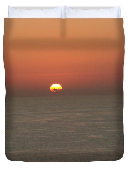 Red Sunset Over Sea Duvet Cover by Gordon Auld