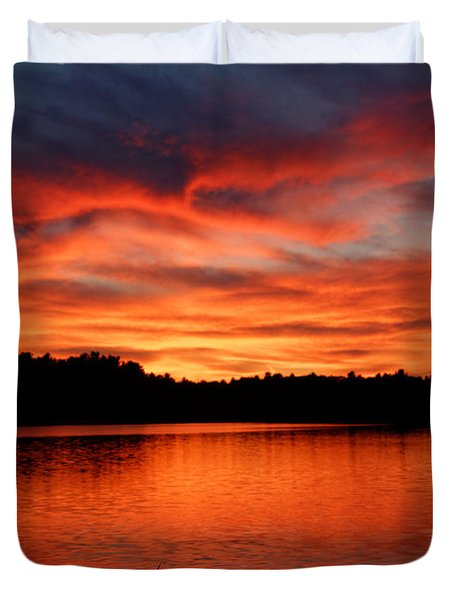 Red Sunset Reflections Duvet Cover