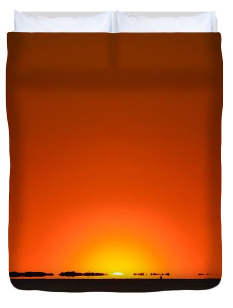 Duvet Cover featuring the photograph Red Sunset With Superior Mirage On Santa Rosa Sound by Jeff at JSJ Photography