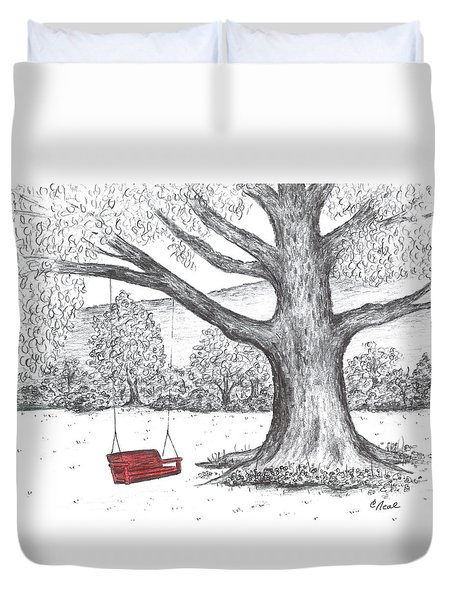 Red Swing Duvet Cover