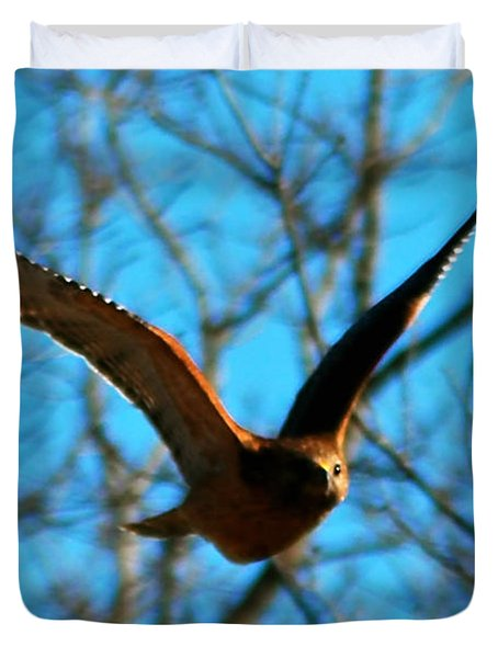 Duvet Cover featuring the photograph Red Tail Hawk In Flight by Peggy Franz